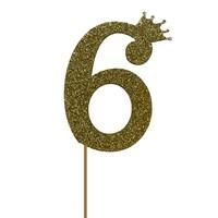 glitter prikker kroon goud cijfer 6