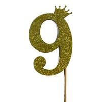 glitter prikker kroon goud cijfer 9