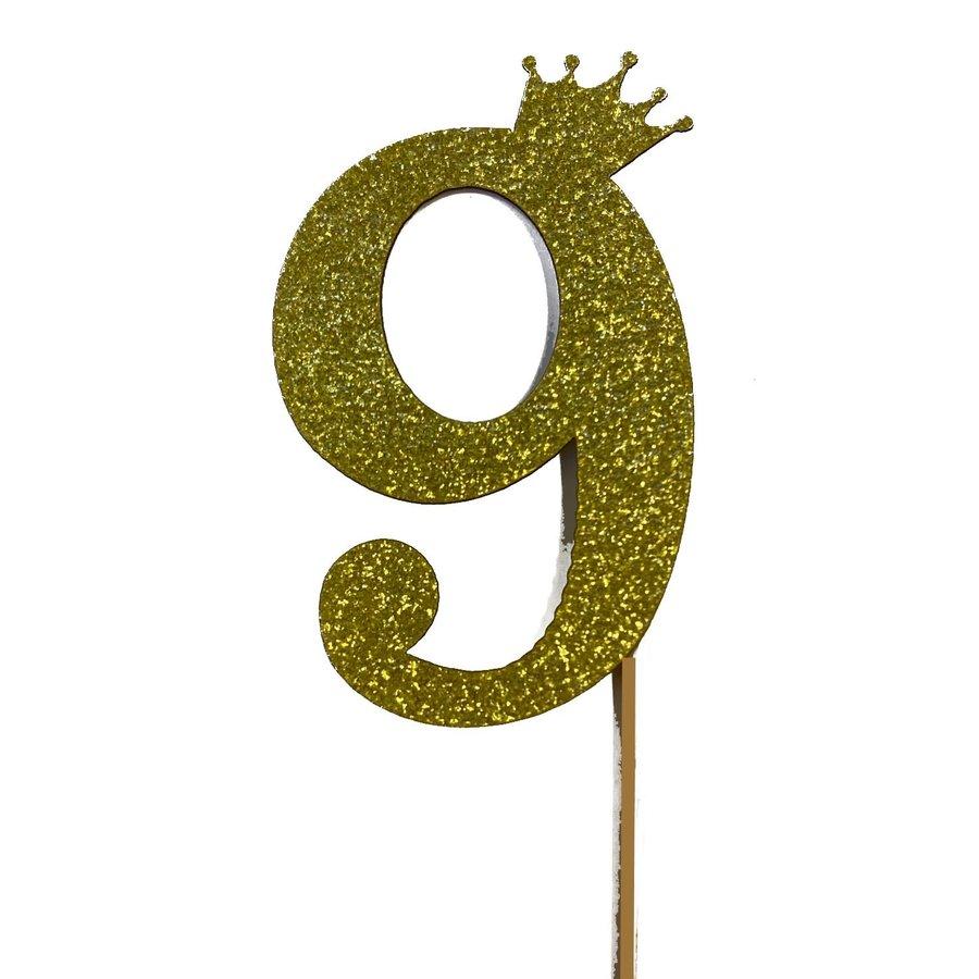 glitter prikker kroon goud cijfer 9-1