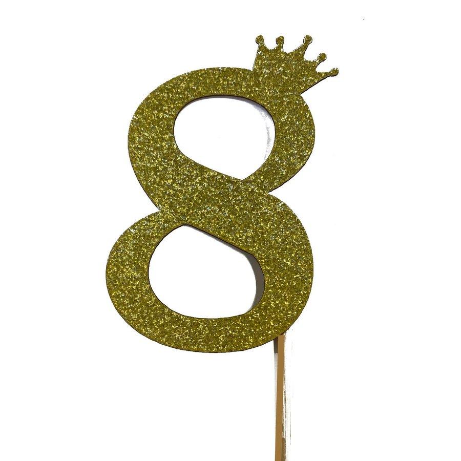 glitter prikker kroon goud cijfer 8-1