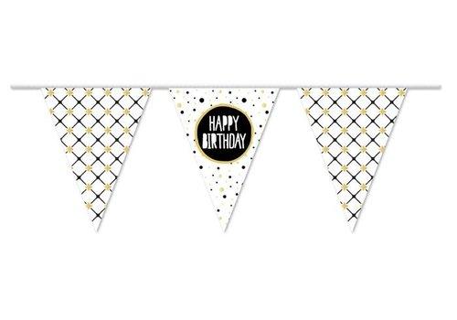 "Vlaggenlijn PE Festive Gold ""Happy Birthday"" 10m"