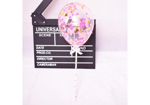 taarttopper confetti ballon roze