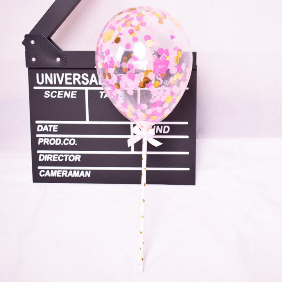 taarttopper confetti ballon roze-1