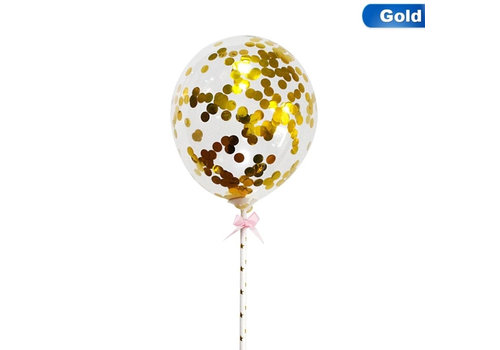 taarttopper confetti ballon goud