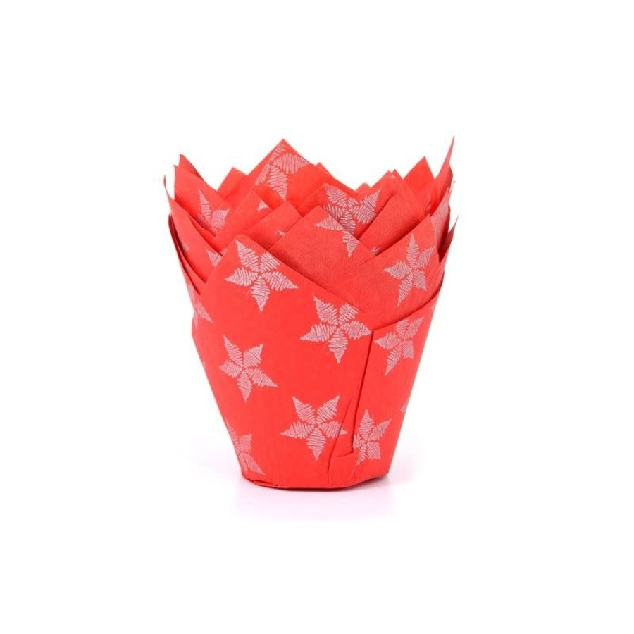 House of Marie Muffin Cups Tulp Sterren Rood pk/50-1