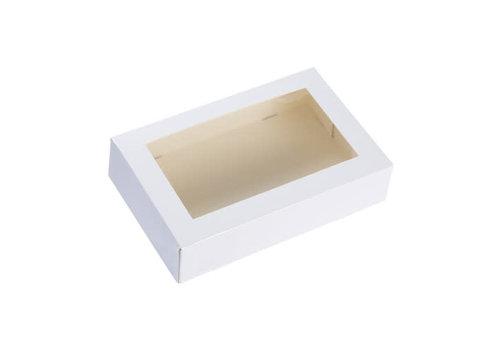 Taartdoos met venster 19x12,5x4,5cm wit