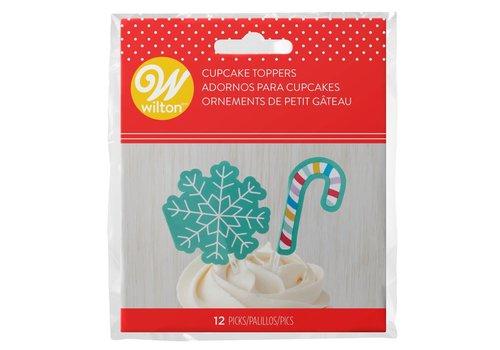 Wilton Cupcaketoppers Sneeuwvlok & Zuurstok pk/12