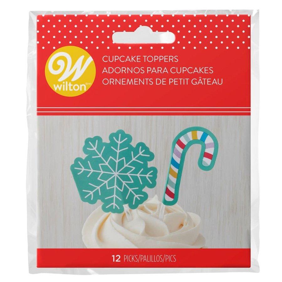 Wilton Cupcaketoppers Sneeuwvlok & Zuurstok pk/12-1