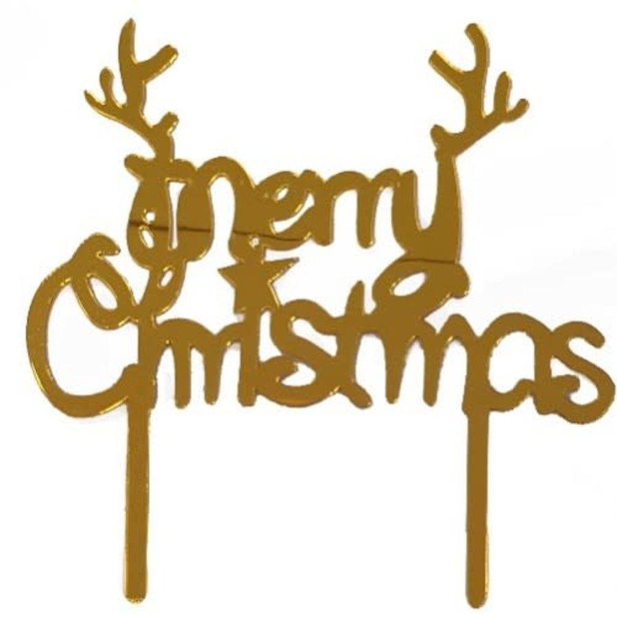 Merry Christmas cake topper goud-1