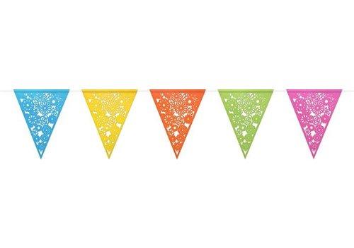 Vlaggenlijn papier colorful gestanst 6m
