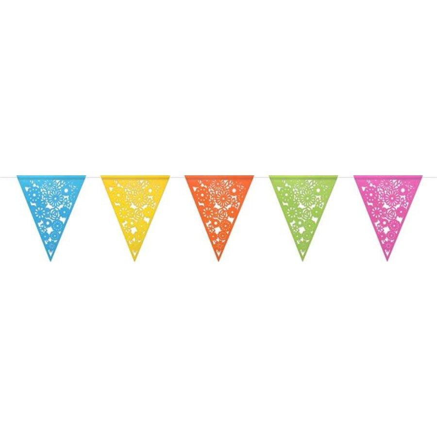 Vlaggenlijn papier colorful gestanst 6m-1