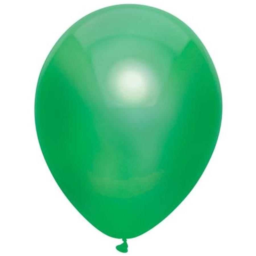 Ballonnen Metallic Donker groen 30cm 10st-1