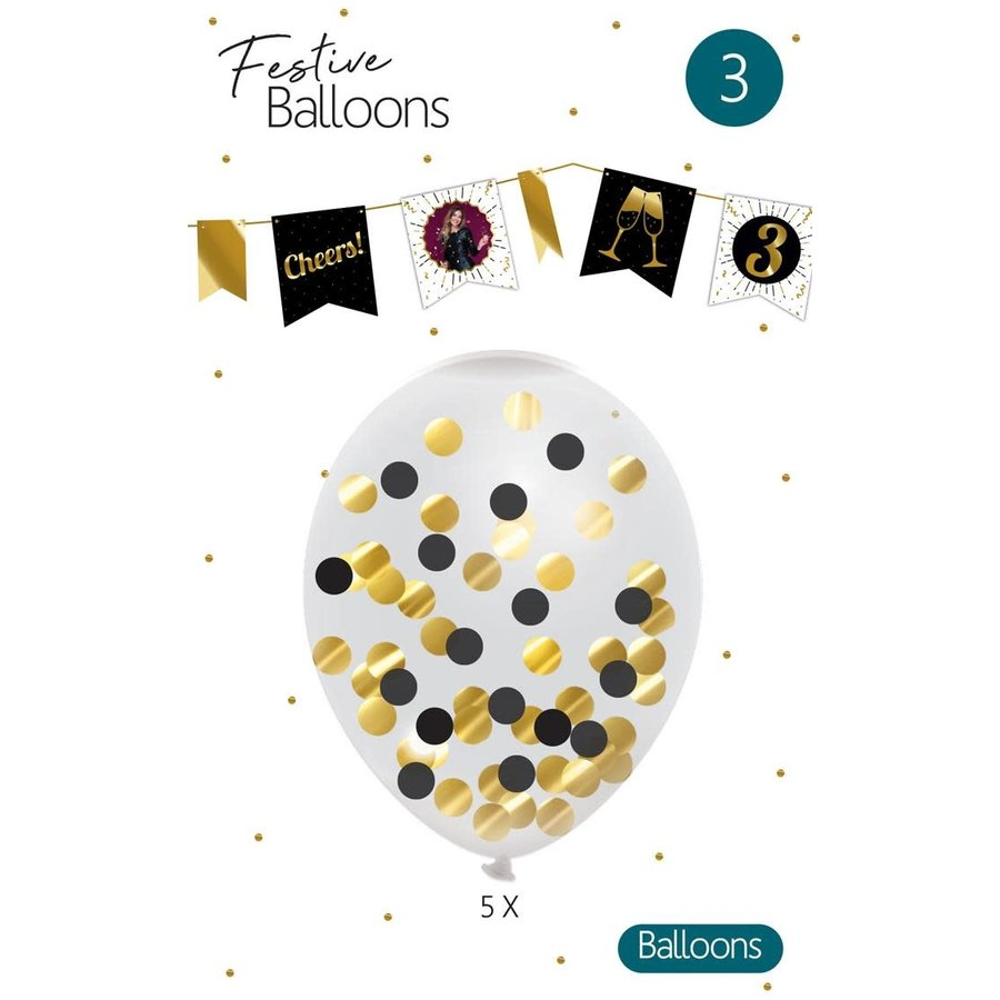 Confetti ballonnen zwart/goud 5 stuks-1