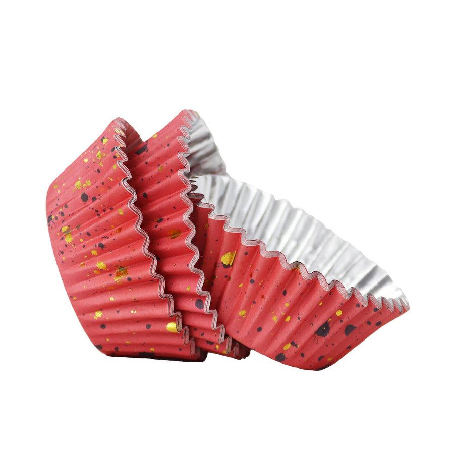 PME Folie Cupcakevormpjes Roze & Gouden Vlekjes pk/30-1