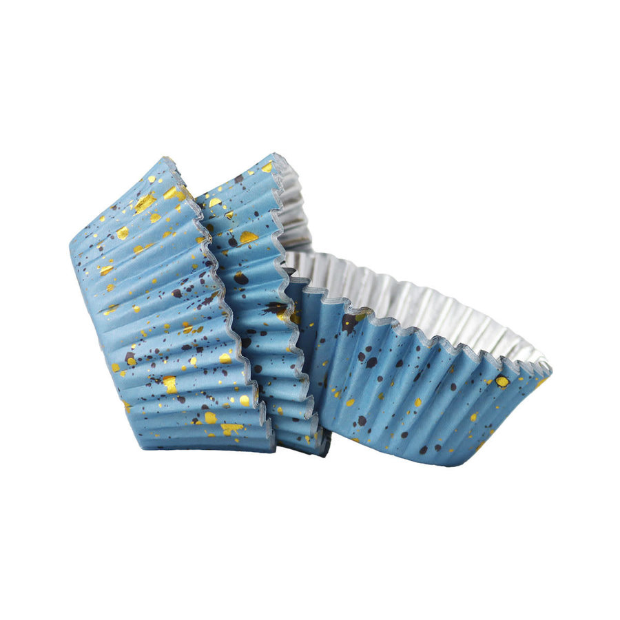 PME Folie Cupcakevormpjes Blauwe & Gouden Vlekjes pk/30-2