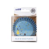 thumb-PME Folie Cupcakevormpjes Blauwe & Gouden Vlekjes pk/30-1