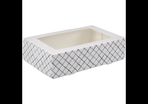 Taartdoos karton 19x12.5x5cm  met venster wit/Zwart