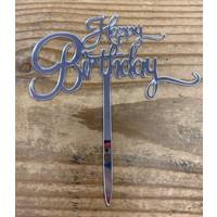 thumb-Happy birthday topper small zilver-1