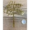 happy birthday topper goud love