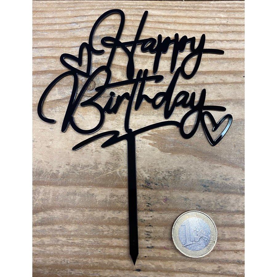 happy birthday topper zwart love-2