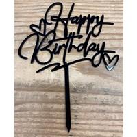 thumb-happy birthday topper zwart love-1