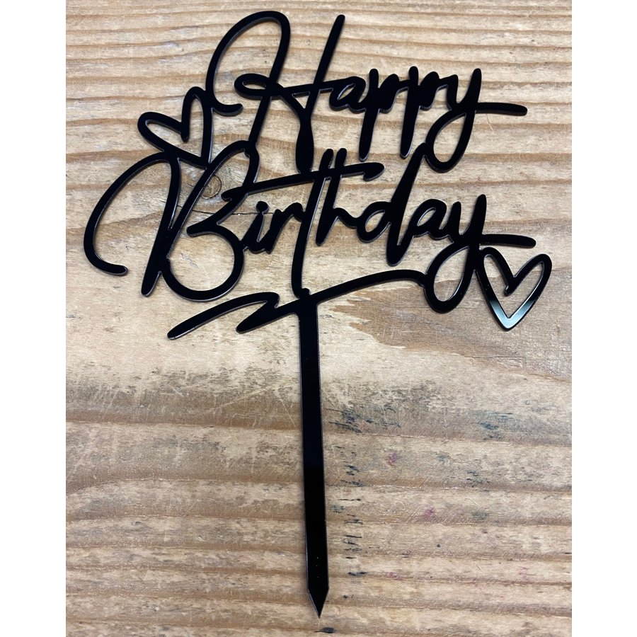 happy birthday topper zwart love-1