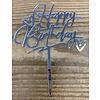 happy birthday topper zilver love