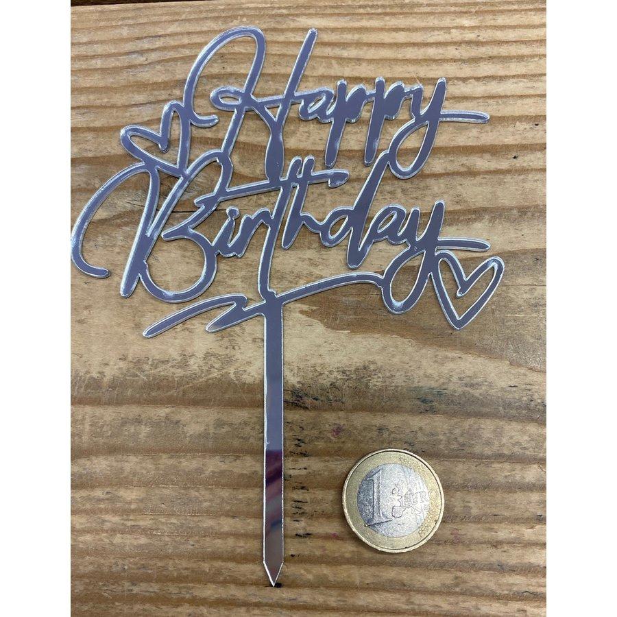 happy birthday topper zilver love-2
