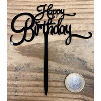 thumb-Happy birthday topper small black-2