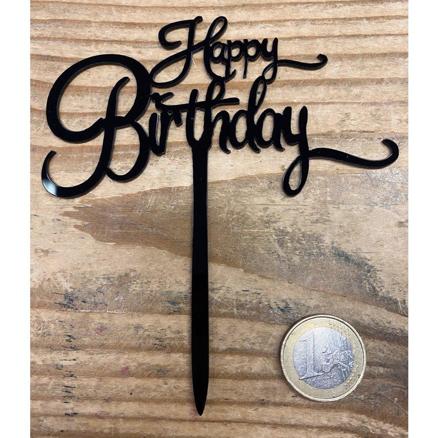 Happy birthday topper small black-2