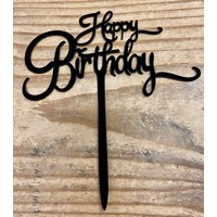 thumb-Happy birthday topper small black-1