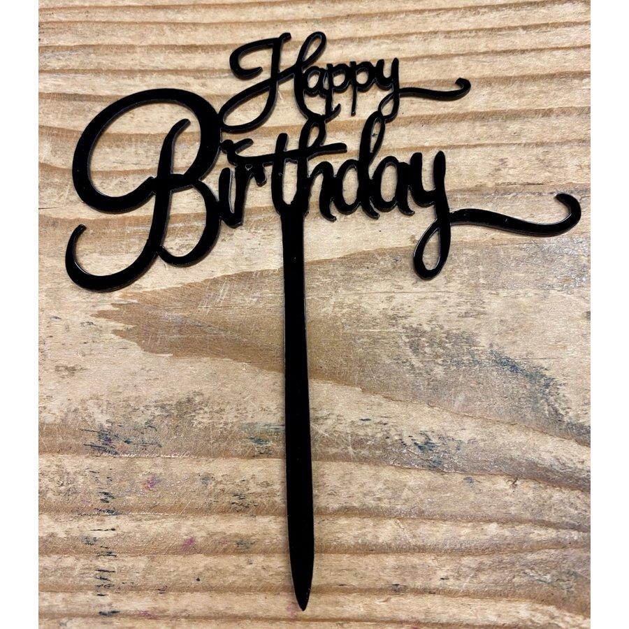 Happy birthday topper small black-1