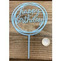 thumb-happy birthday topper rond licht blauw-2