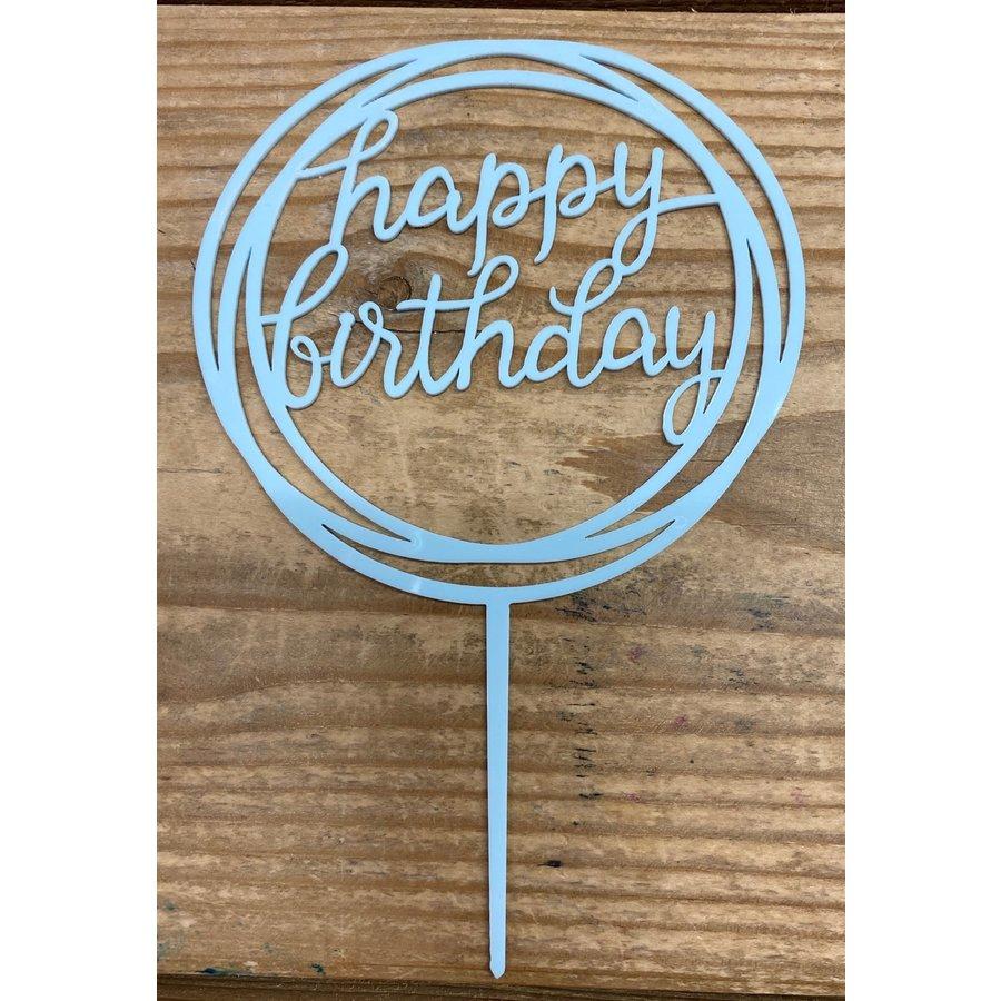 happy birthday topper rond licht blauw-1