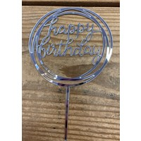 thumb-happy birthday topper rond zilver-1