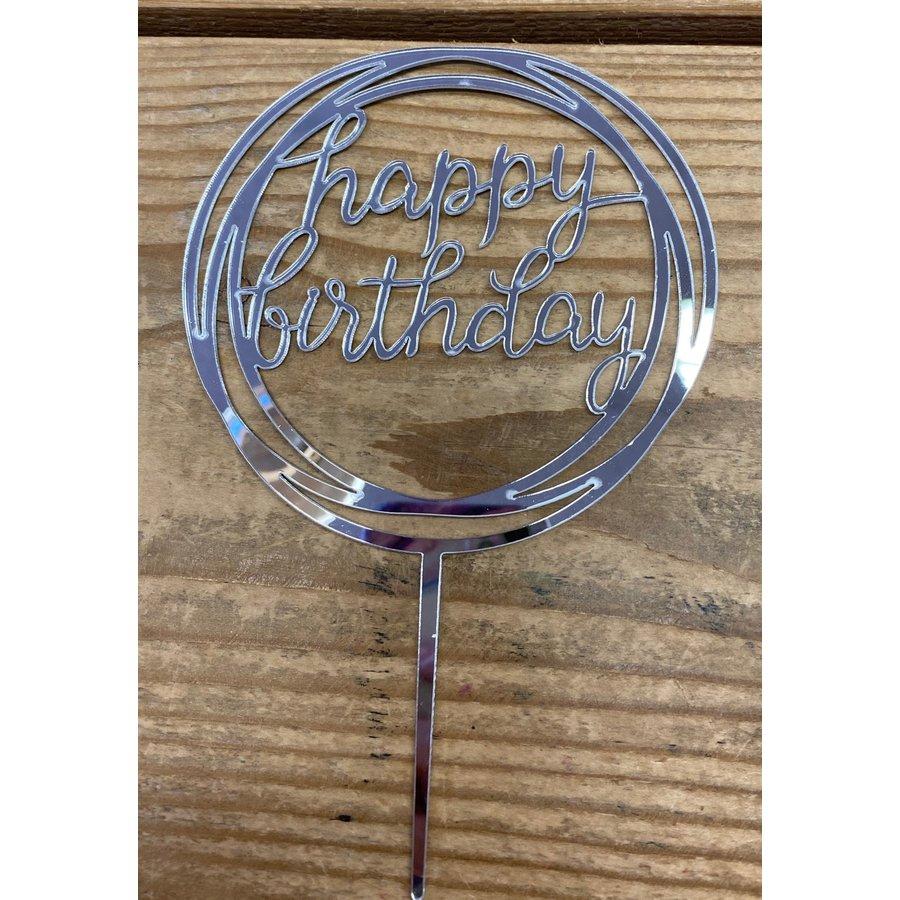 happy birthday topper rond zilver-1