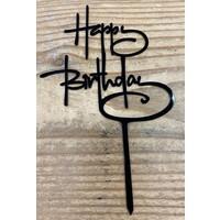 thumb-happy birthday topper script zwart-1
