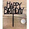 happy birthday topper bold zwart