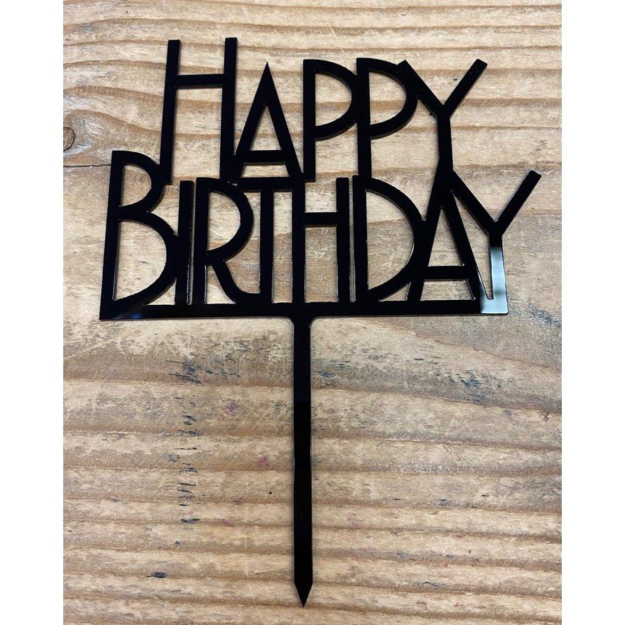 happy birthday topper bold zwart-2