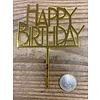 Happy birthday topper bold goud