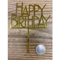 thumb-Happy birthday topper bold goud-1
