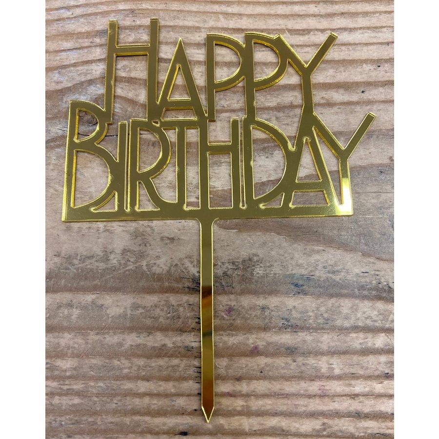 Happy birthday topper bold goud-2