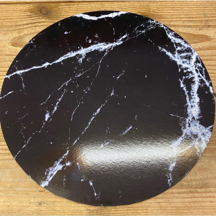 cakeboard extra stevig marble zwart 25cm-1