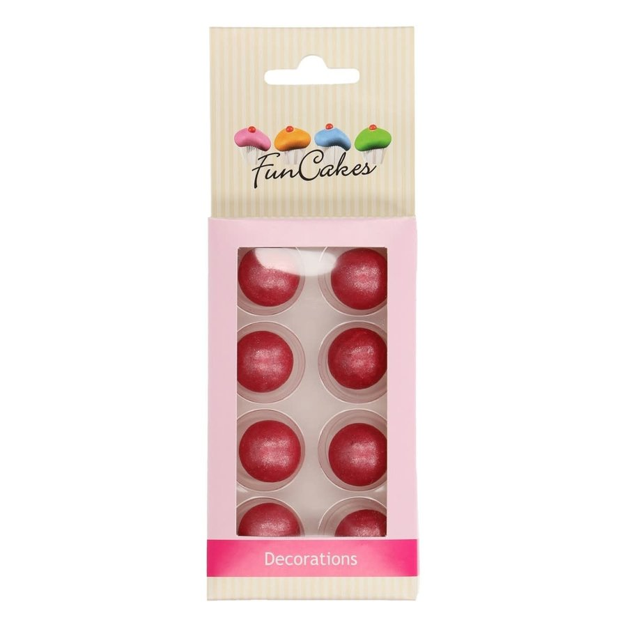 FunCakes Pearl Choco Balls donker roze Set/8-1