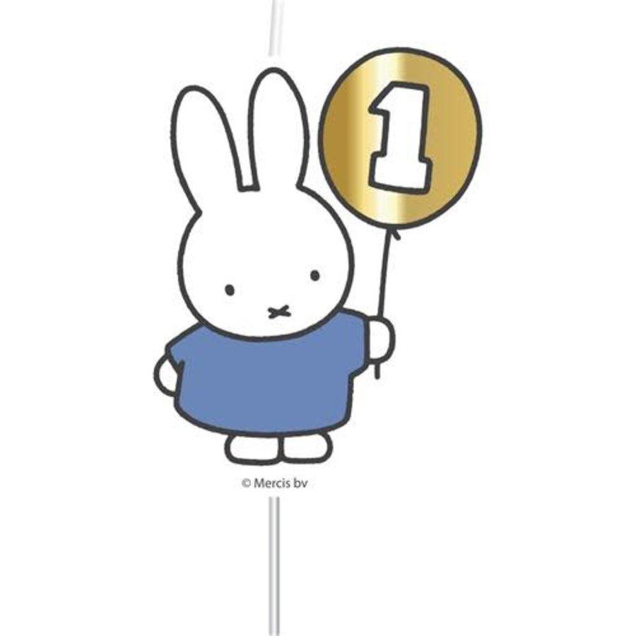 """Cijferkaars """"1"""" Nijntje First Birthday blauw-1"""
