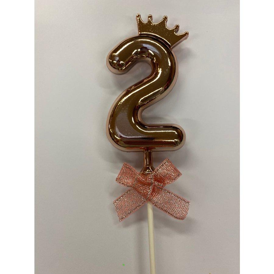 Cake topper ballon 2 roze-1