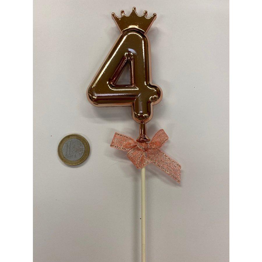 Cake topper ballon 4 roze-1