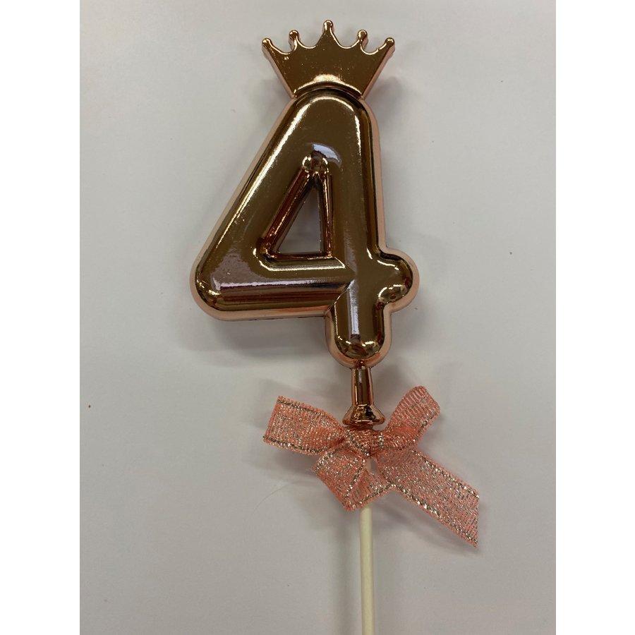 Cake topper ballon 4 roze-2