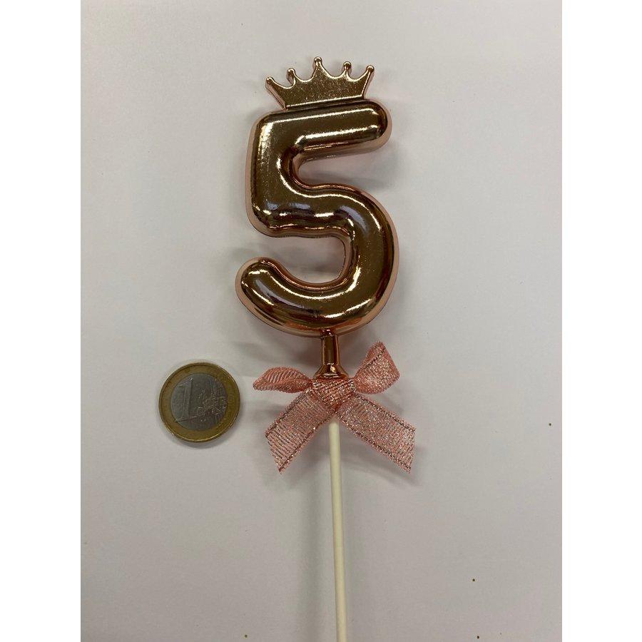Cake topper ballon 5 roze-2