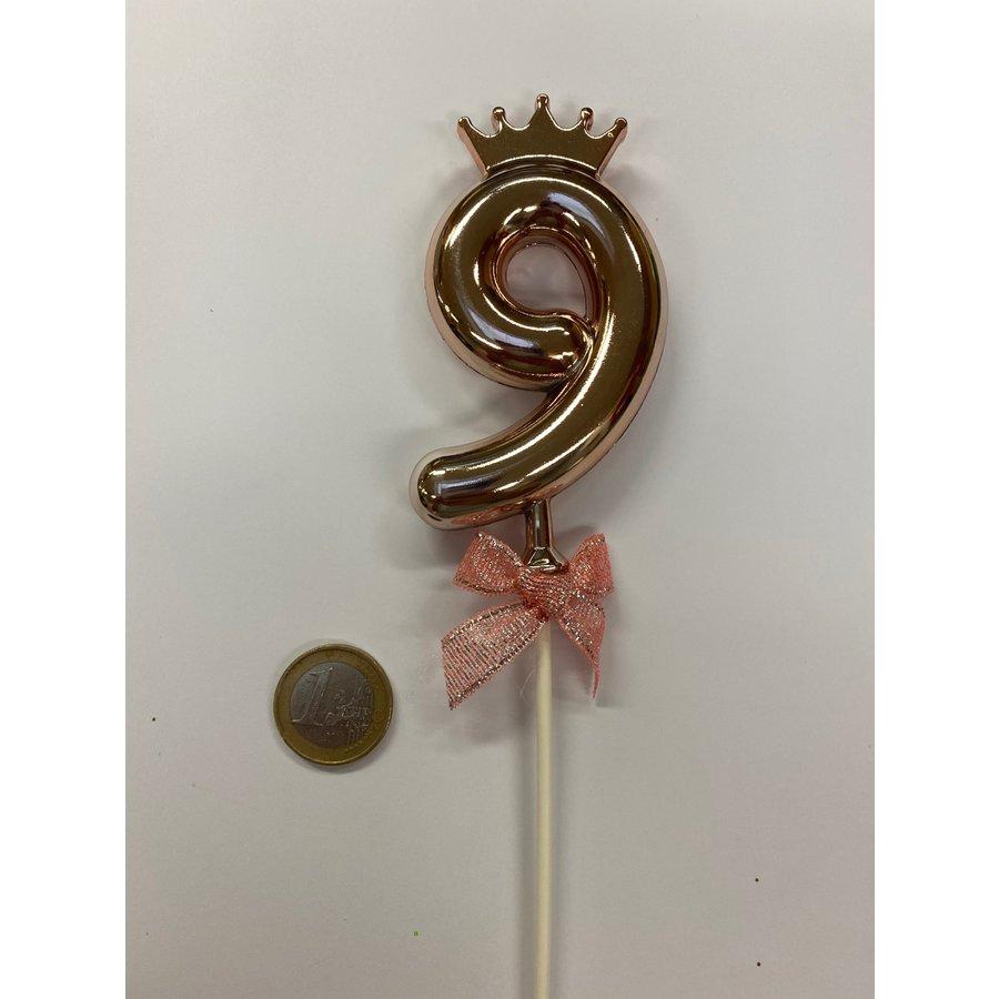 Cake topper ballon 9 roze-2